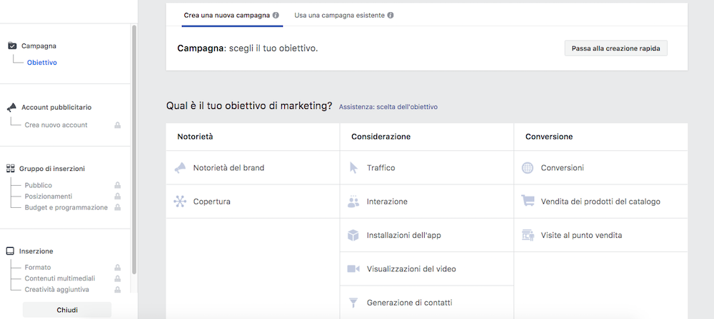 Fare marketing con Facebook Messenger: impostare obiettivo campagna