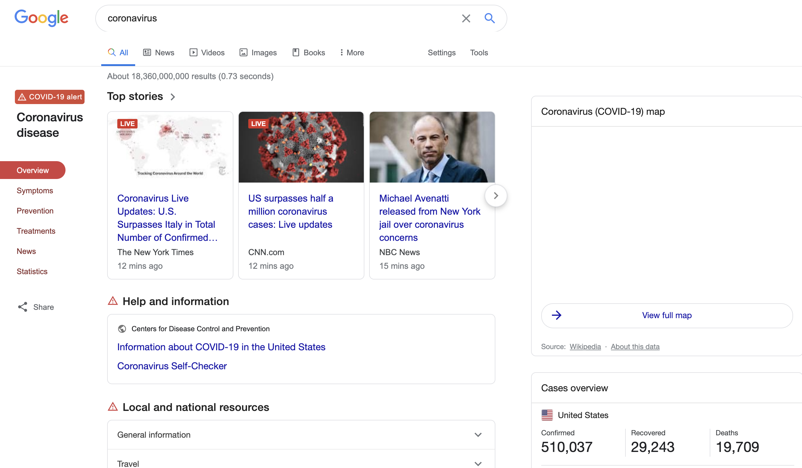 Coronavirus information in Google SERP.