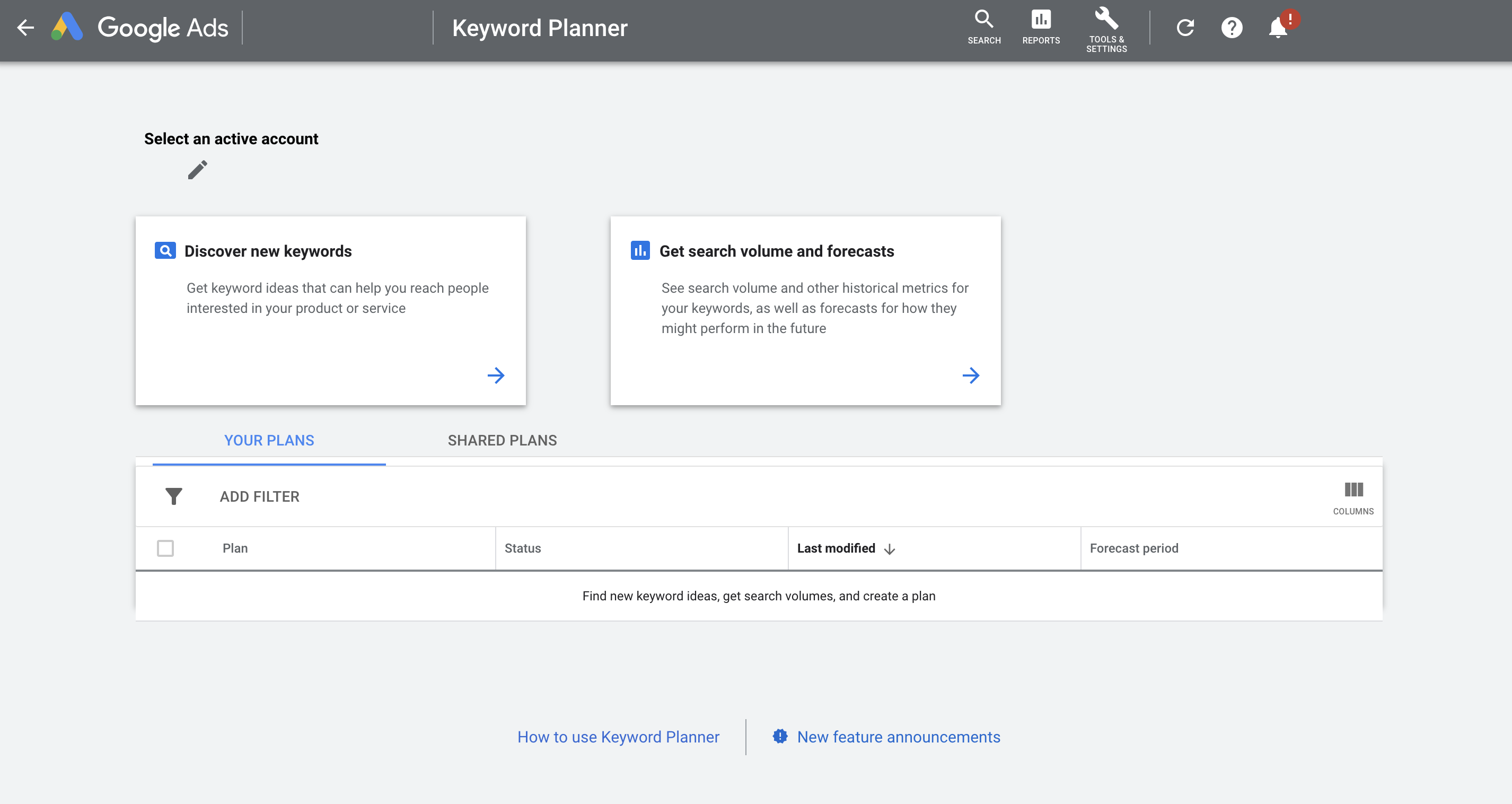 Screenshot of Google Ads Keyword Planner