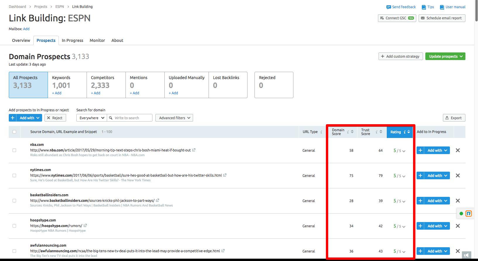 Link Building Tool: Domain Score
