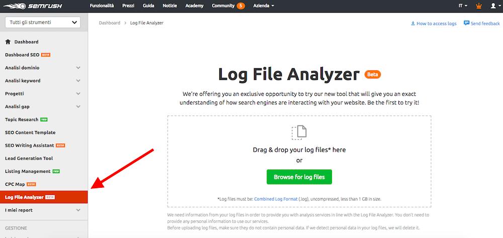 Log file analyzer di SEMrush