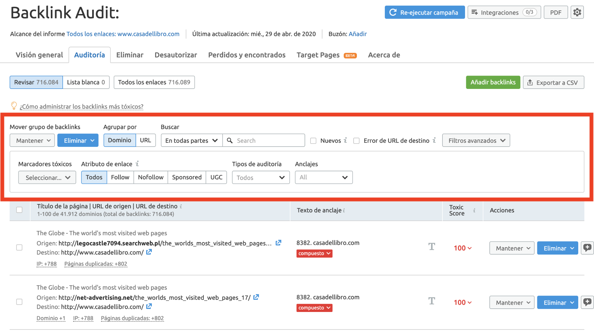 Analizar backlinks y enlaces SEO - Tipos de toxicidad