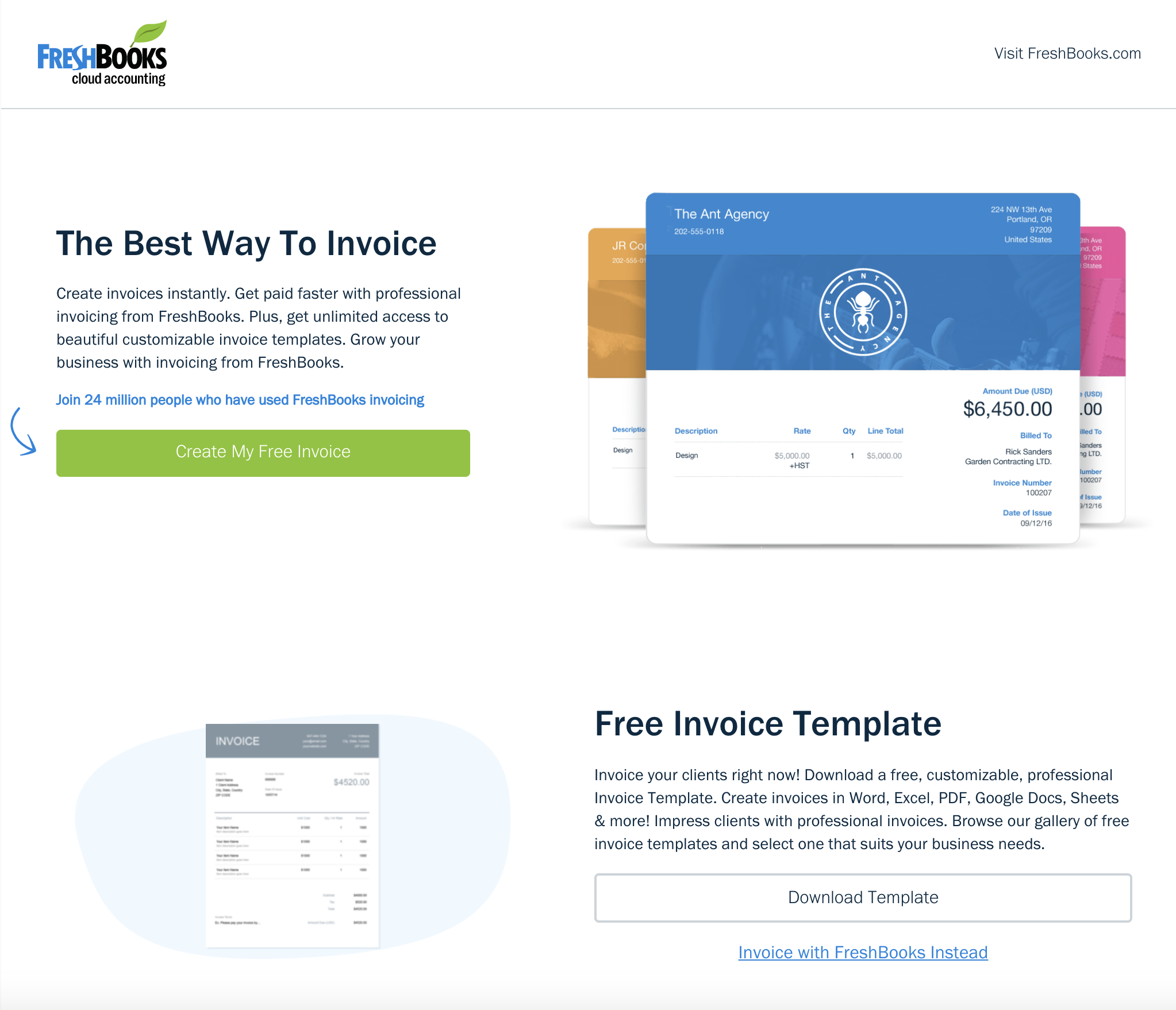 FreshBooks invoice screenshot
