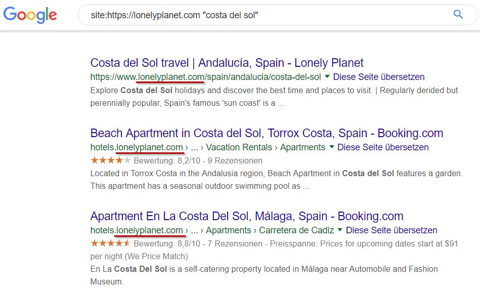 Ergebnisse einer Google-Site-Suche