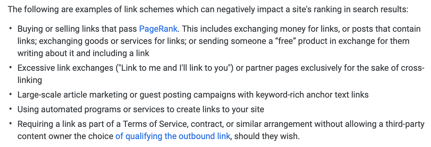 Google's list of link building schemes to avoid