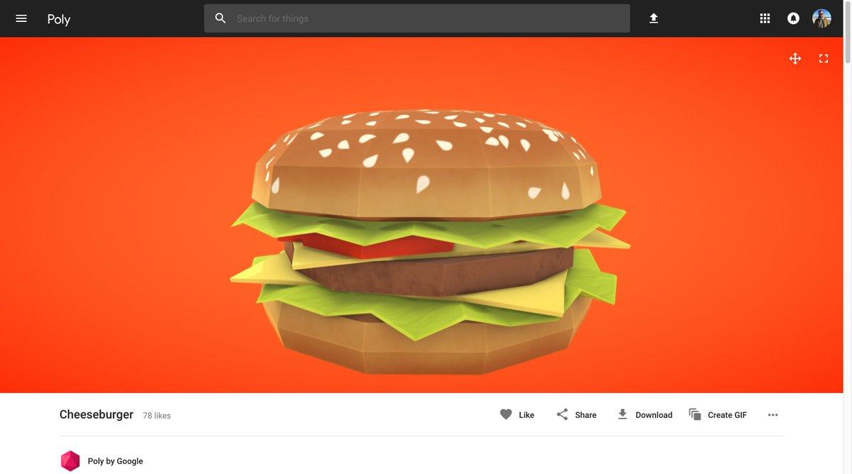 Google Poly - Cheeseburger