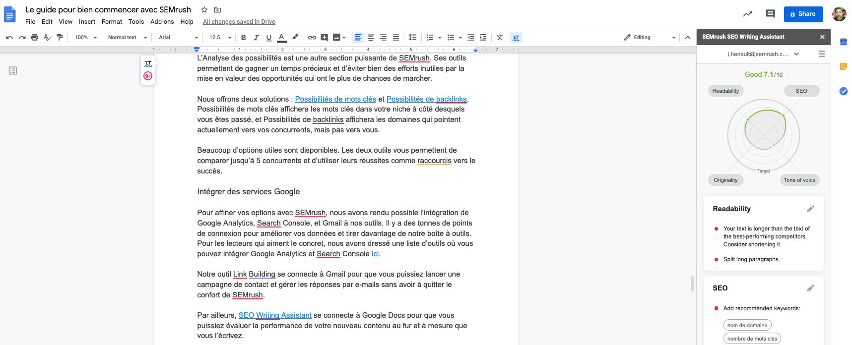 SEMrush Writting Assistant dans Google Doc
