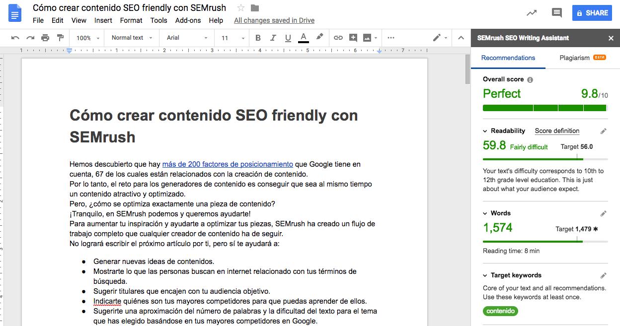 Mejores actualizaciones SEMrush - SEO writing assistant