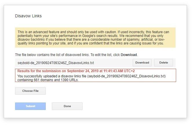 Disavow File updaten