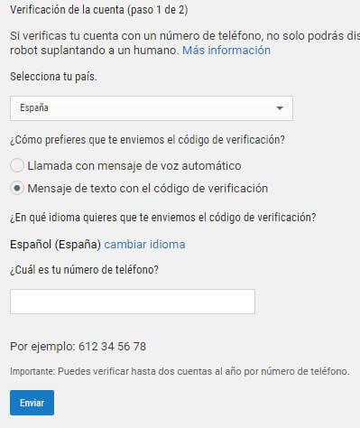 Crear canal Youtube - Verificación teléfono