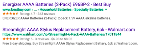 Energizer SERP rivals using featured snippet: rating