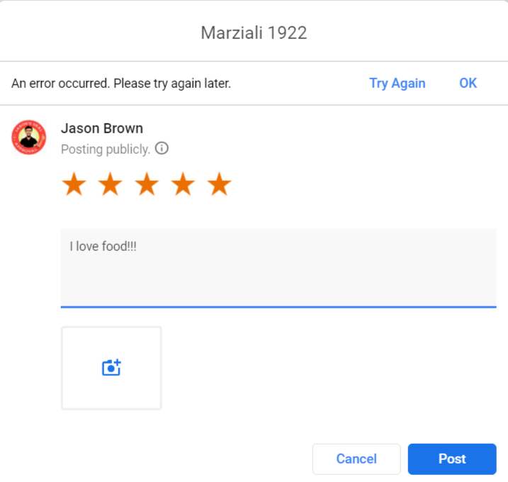 Unable to leave a Google review.