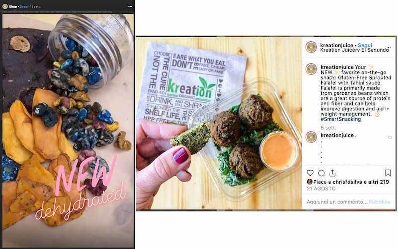 Esempio di contenuti da postare su Instagram, dall'account di Kreation organic