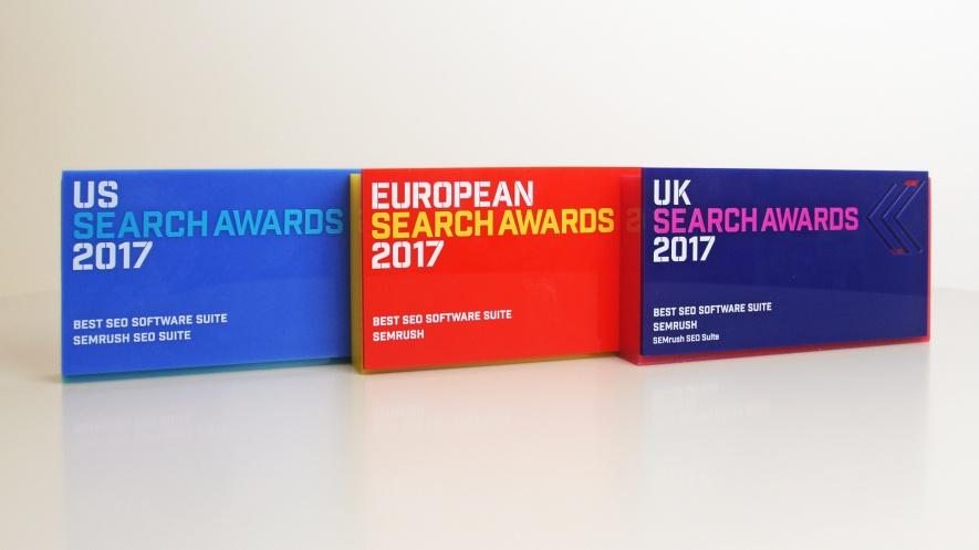 """SEMrush è """"Miglior suite di software SEO"""" nei Search Award di EU, USA e GB (2017)"""