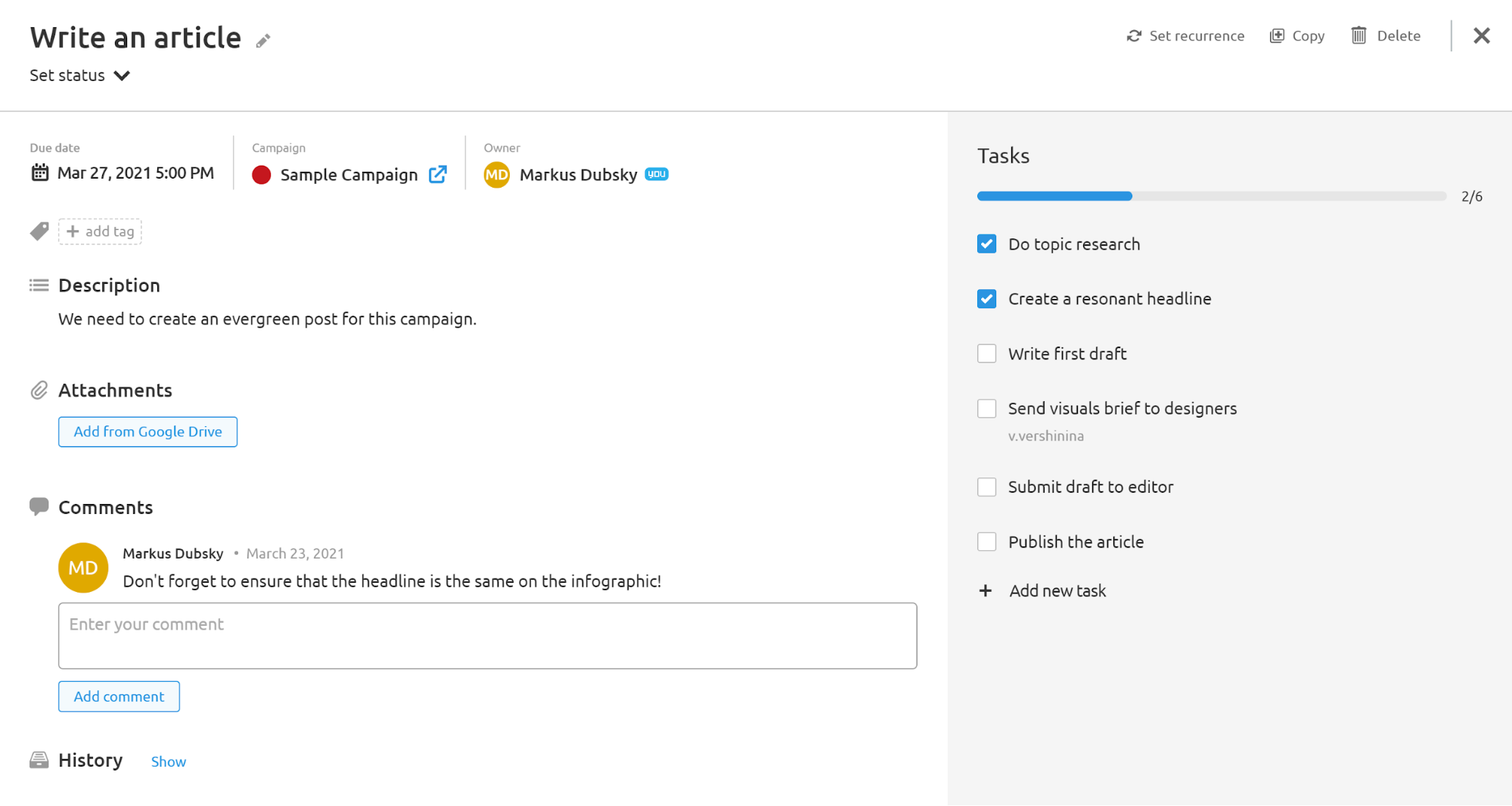 Agency Project Management Software. Task setting
