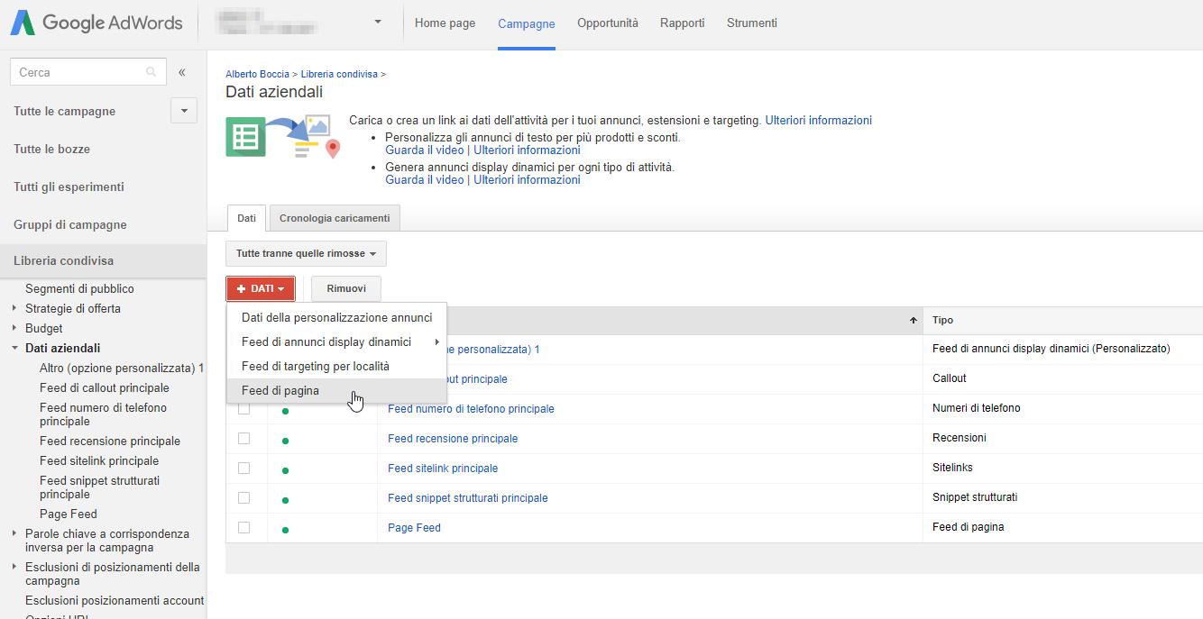 Come caricare il feed su Google Adwords