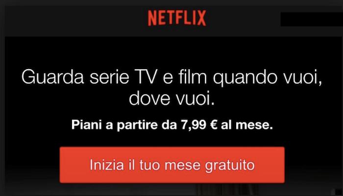 Esempio cta efficace per un annuncio: abbonamento Netflix mese gratuito