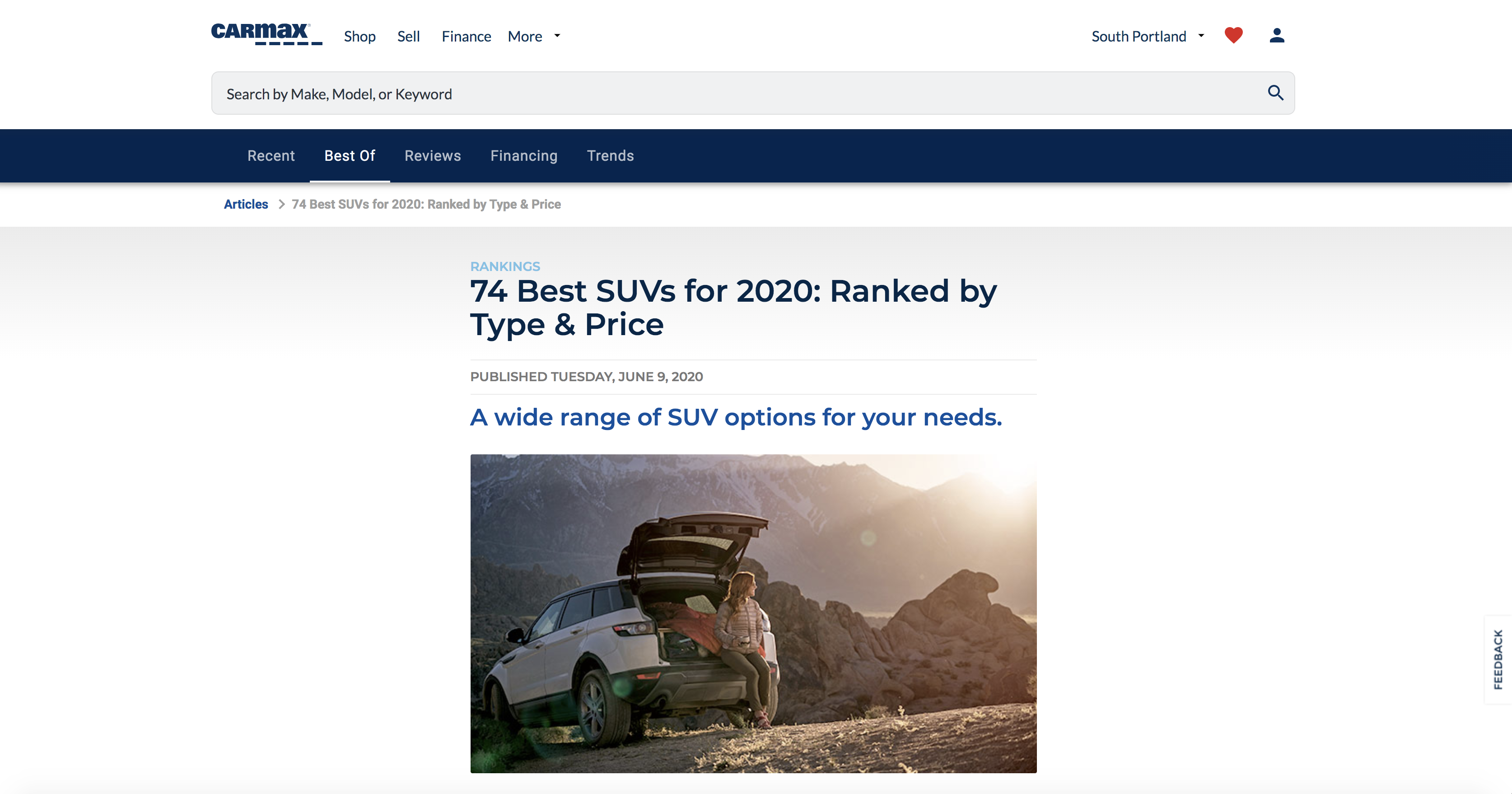 Example of an informational page, best SUVs