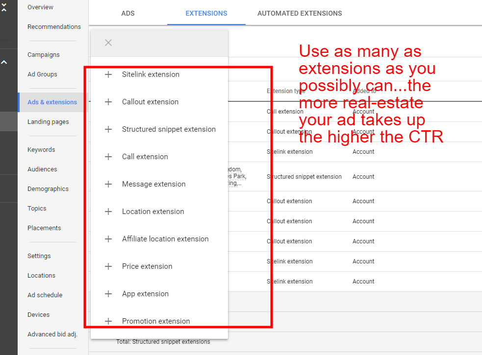 ad extension options