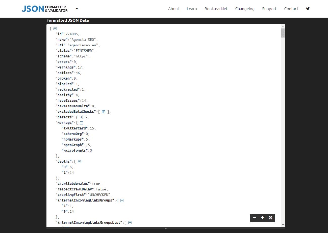 Cómo se visualizan los datos json de la API de SEMrush