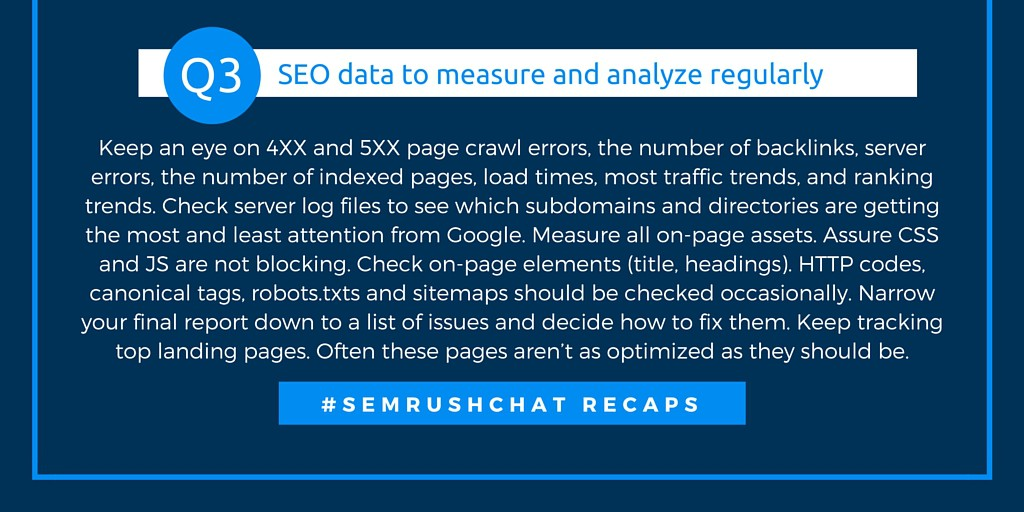 SEO data to measure and analyze regularly