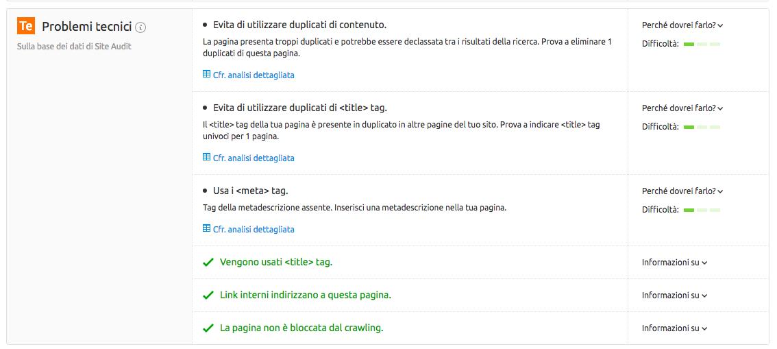 On Page SEO Checker: problemi tecnici rilevati collegando Site audit