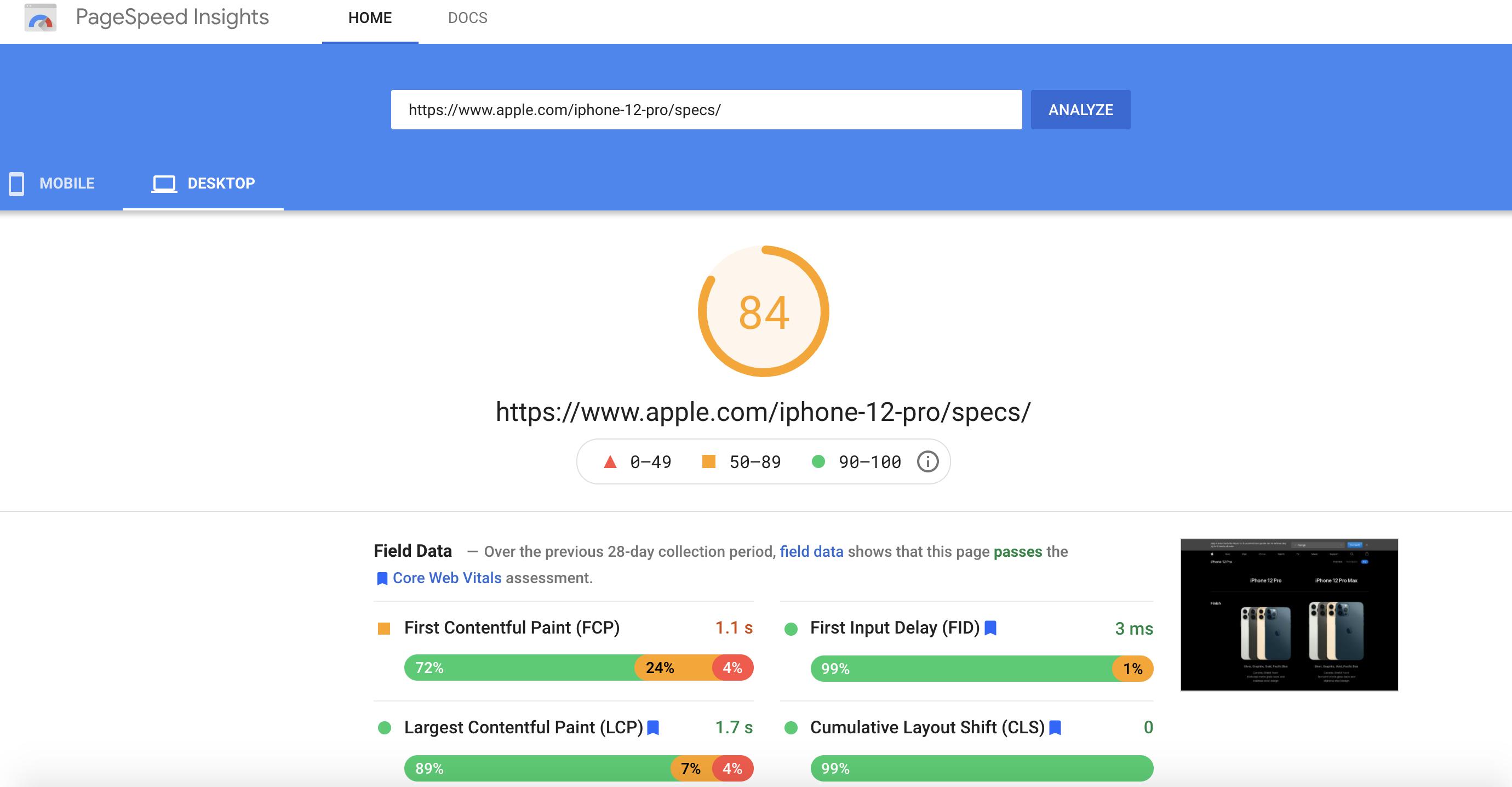 pagespeed insights página web de apple iphone 12 pro