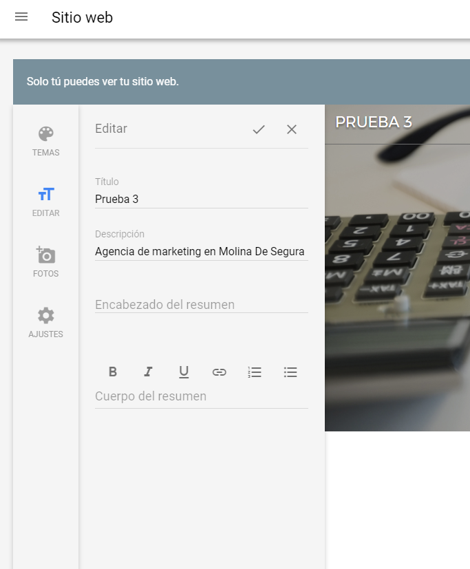Novedades de Google My Business - Añade texto a la web