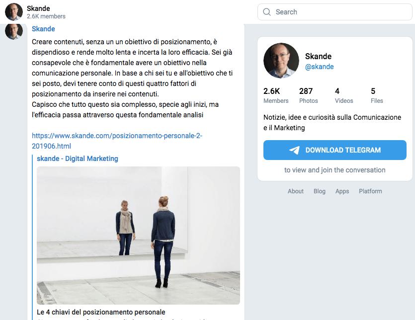 Un ottimo canale su Telegram per essere aggiornato sul web marketing
