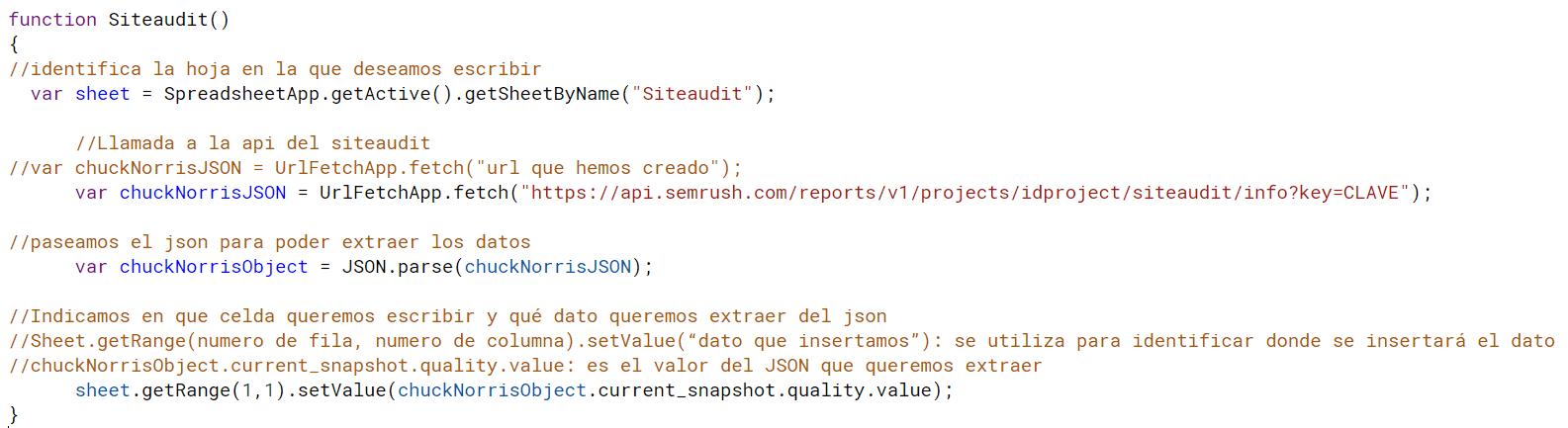 Siteaudit api de SEMrush desde apps script