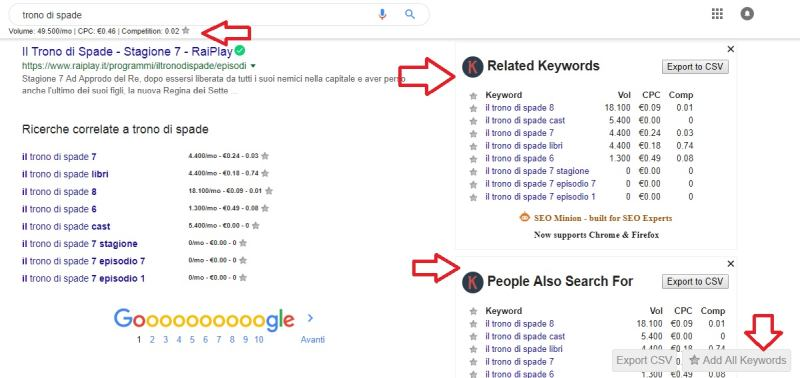 Keyword Everywhere suggerimenti keyword di Google correlate – People also search for