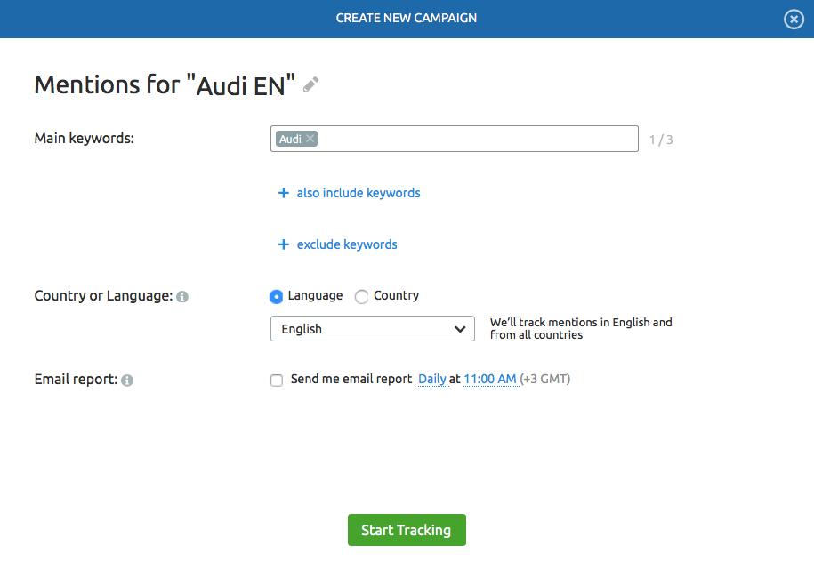 Gestión de reputación online - Ajustes Brand Monitoring