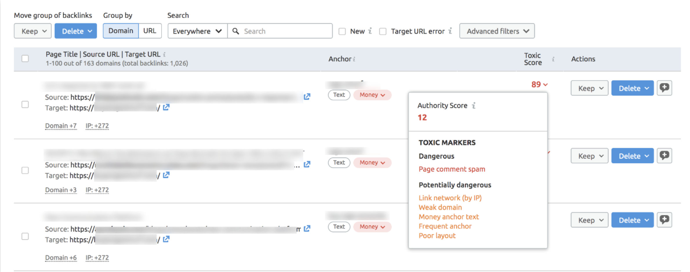 Example of toxic backlinks in the SEMrush backlink tool