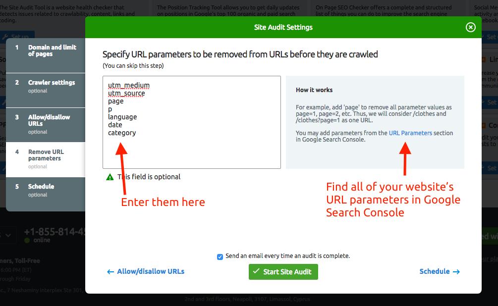 parámetros de URL de auditoría del sitio