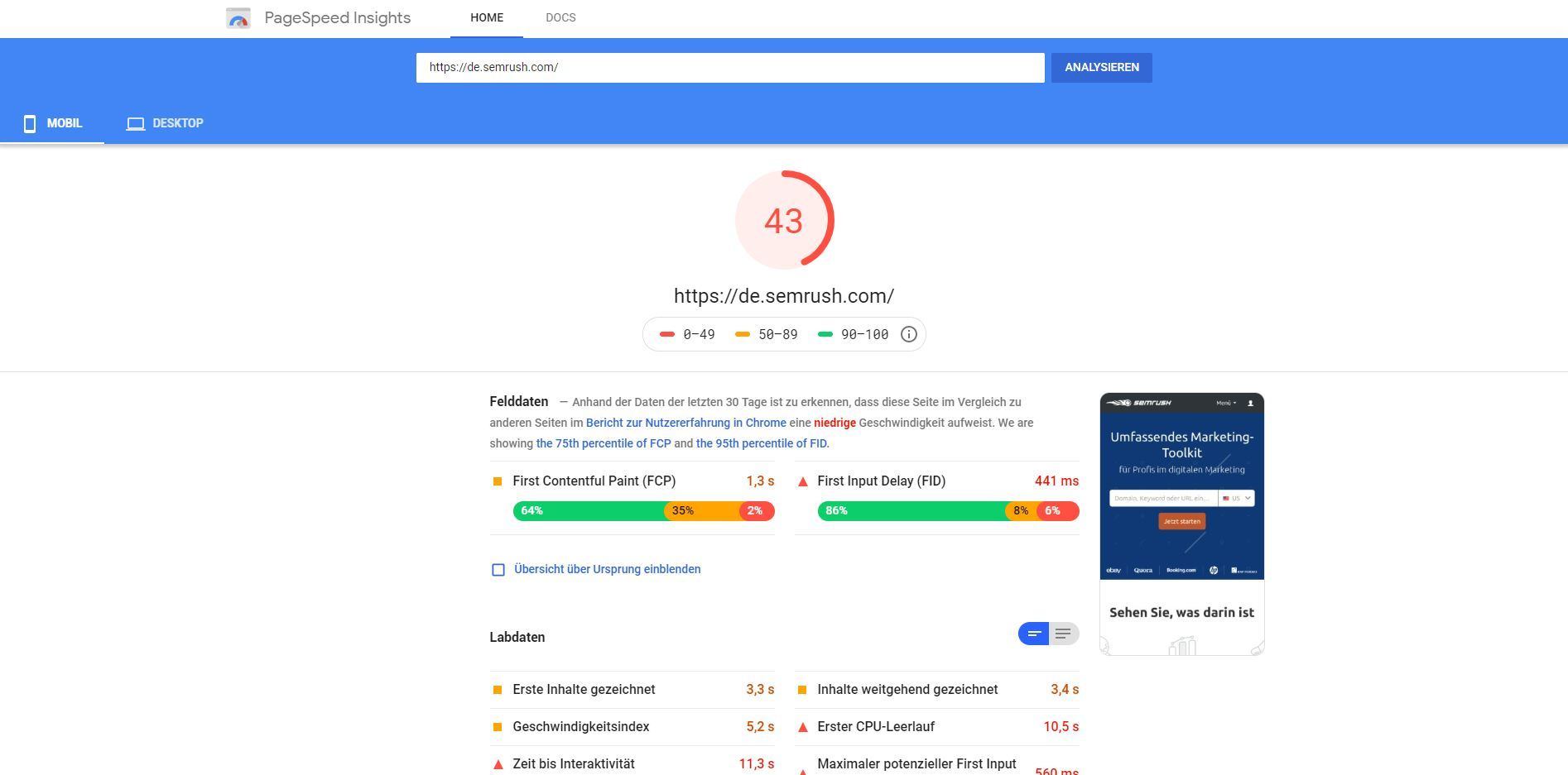 Google PageSpeed Insights: Mobile Geräte