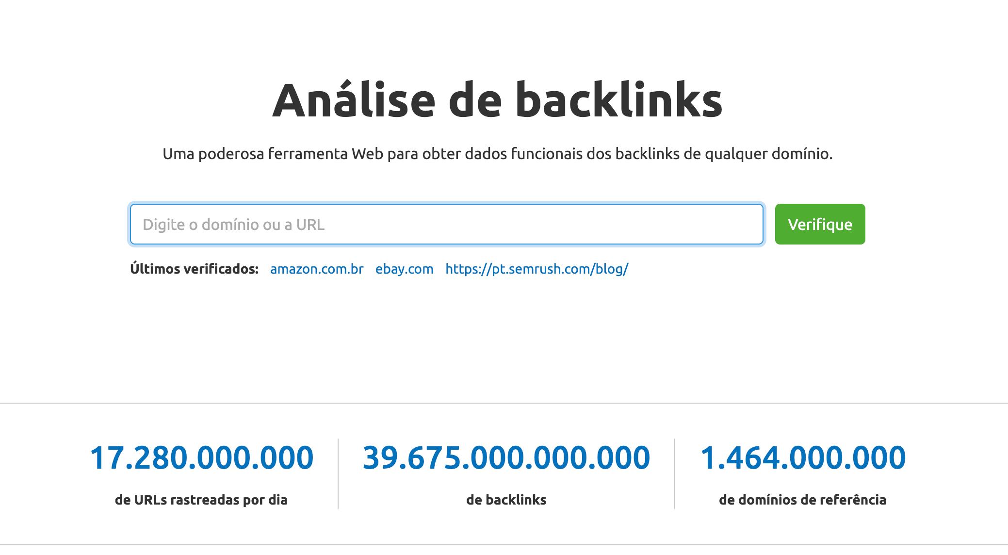 Analise de backlinks Semrush
