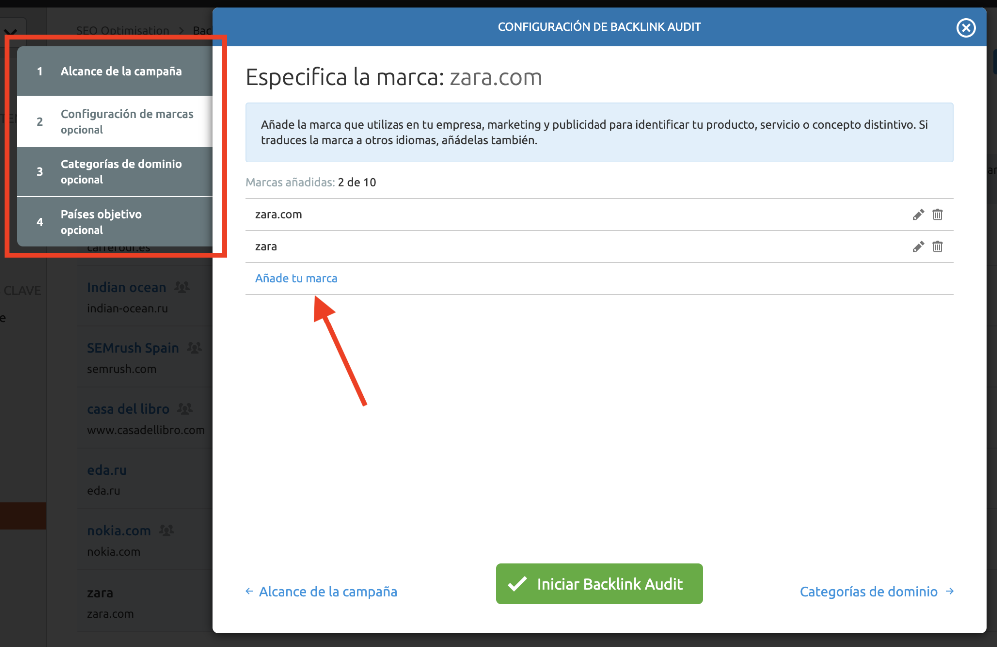 Analizar backlinks y enlaces SEO - Configuración de marca
