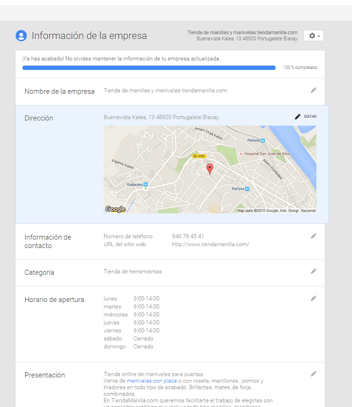 Google My Business Información de empresa