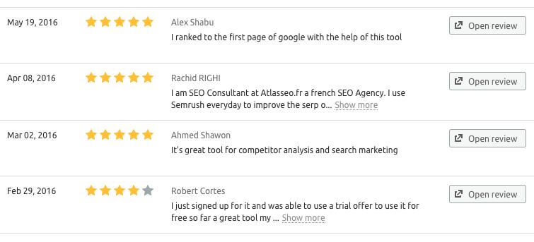 Business listings reviews