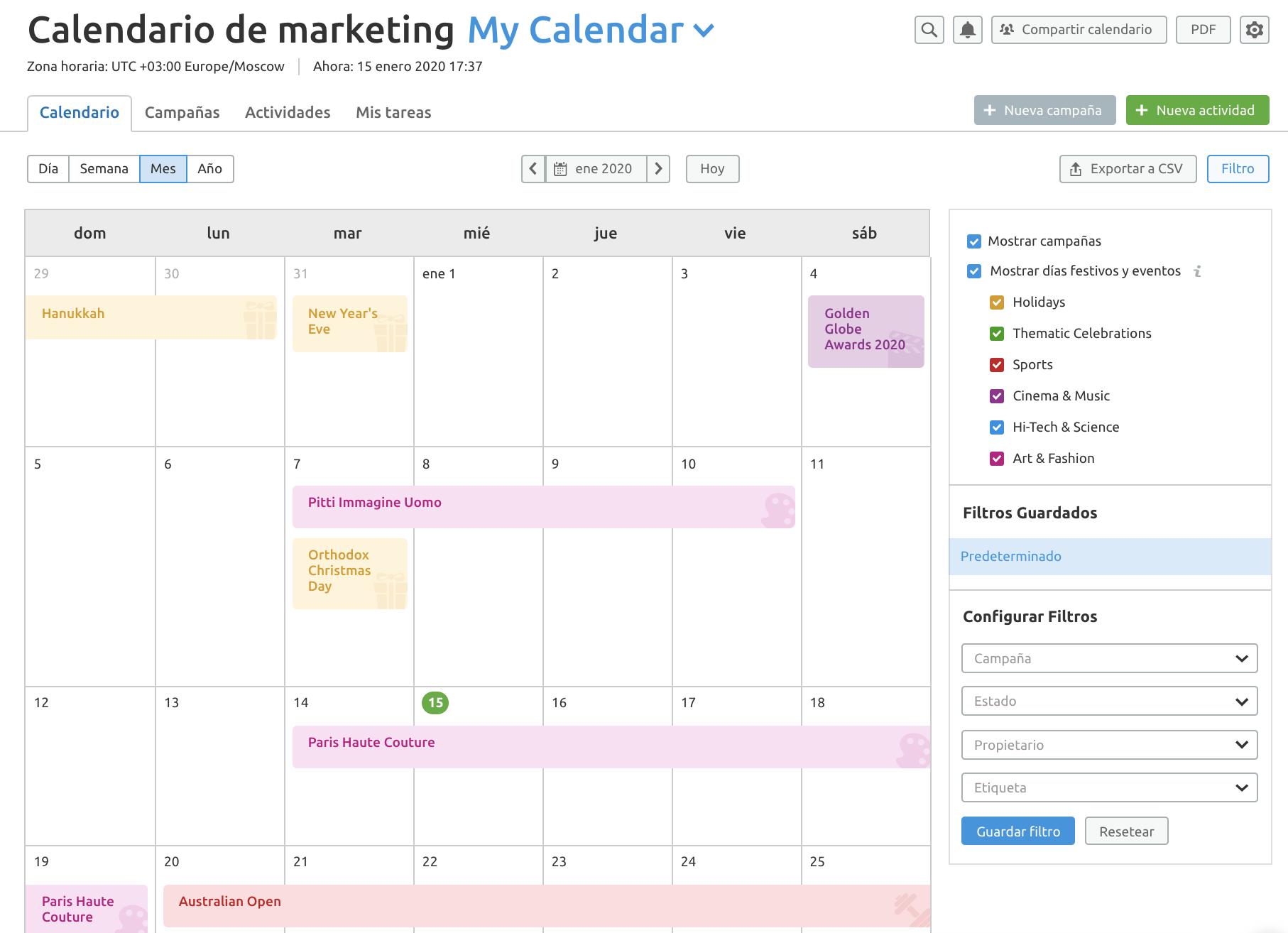 Actualizaciones top de SEMrush - Calendario de marketing