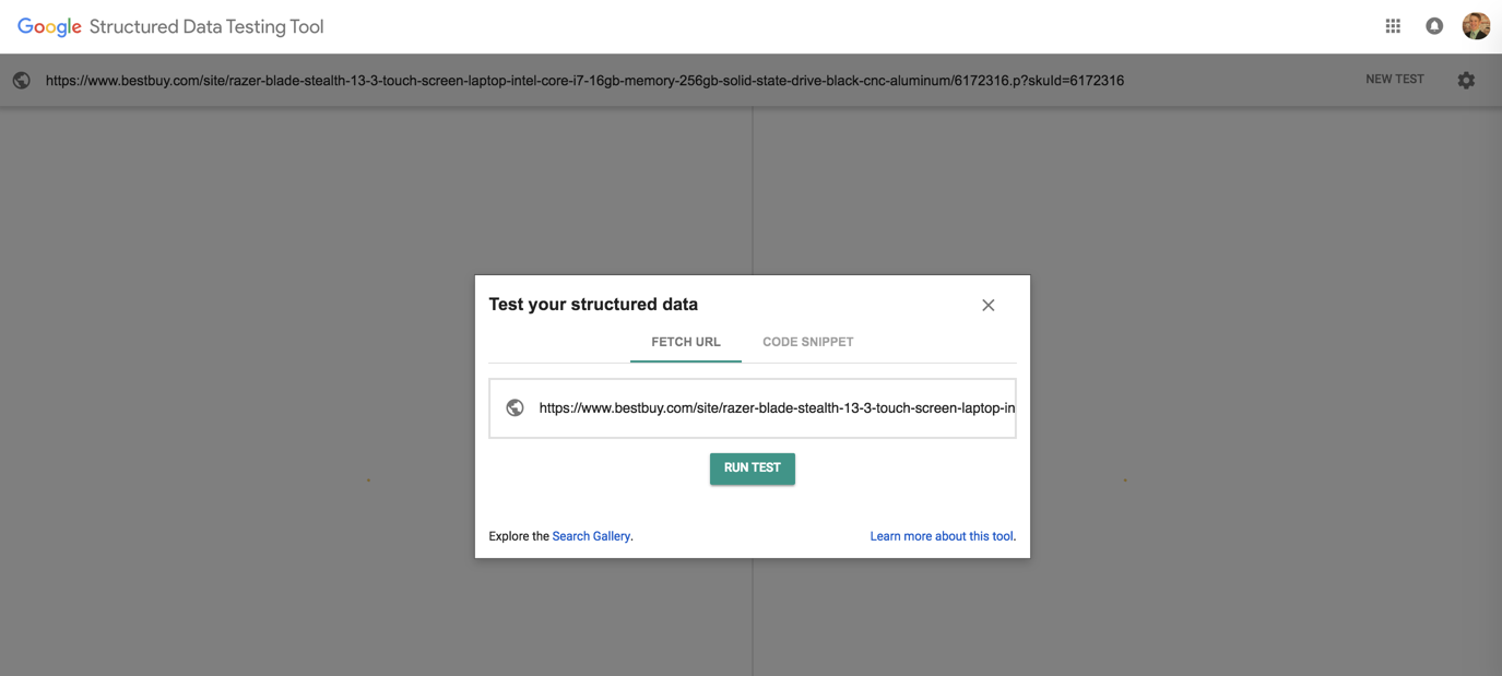 A screenshot of the first page a user will see when starting the Google Structured Data Testing Tool