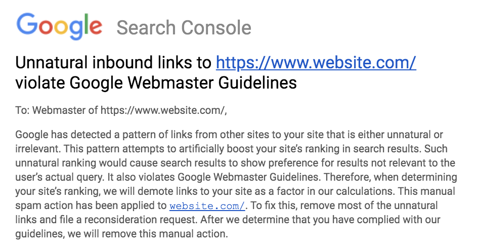 An example of manual action notification in Google Search Console