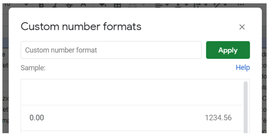 Meglio utilizzare il formato custom