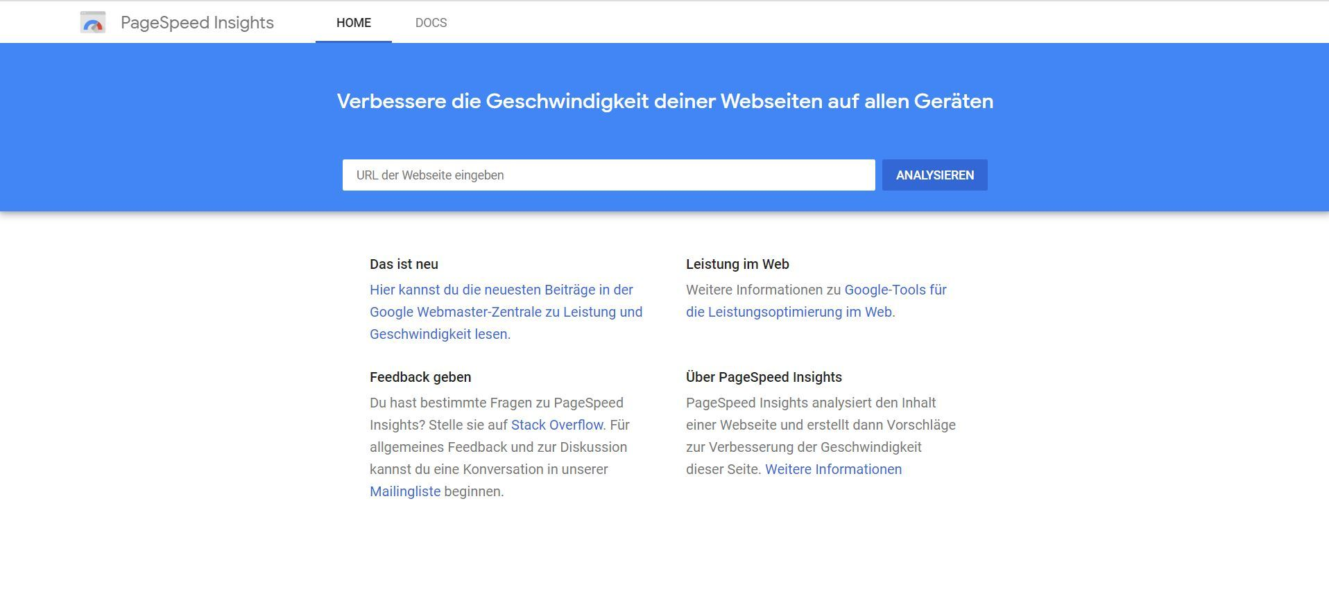 Google PageSpeed Insights: URL eingeben