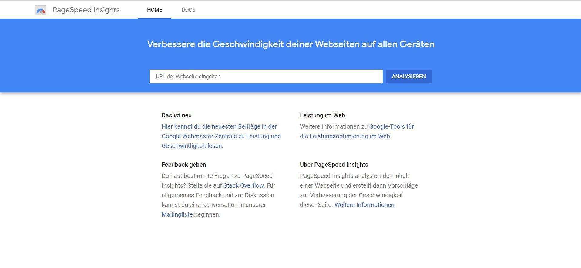 Google PageSpeed Insights: URL eingeben