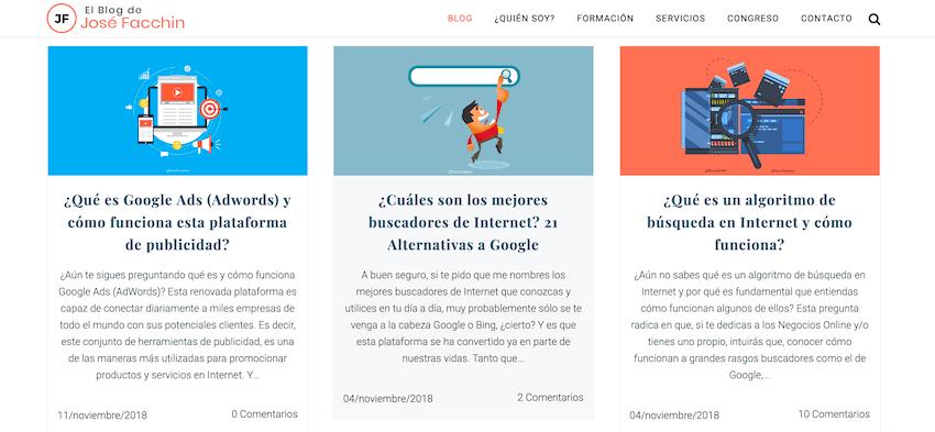 Qué es un Adblock: Ejemplo blog de José Facchin