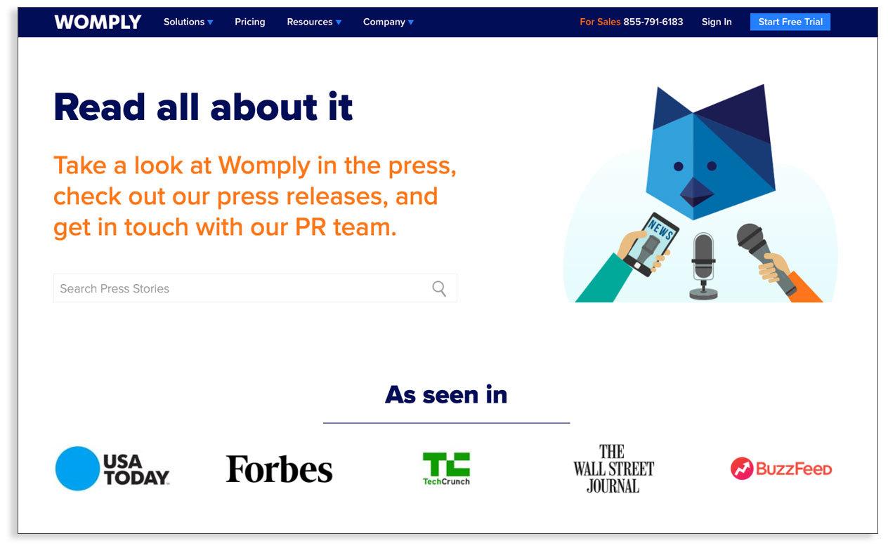 SaaS Marketing - Ejemplo Womply marketing de contenidos