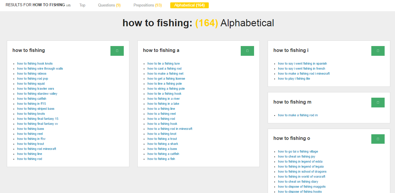 answertherepublic how to fishing