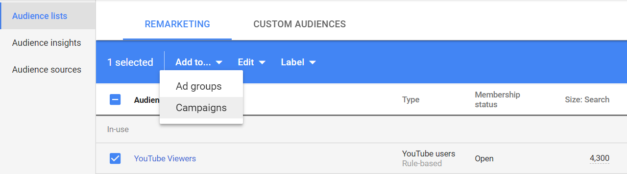 add audiences in google ads