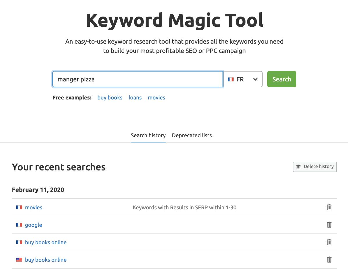 Keyword Magic tool France